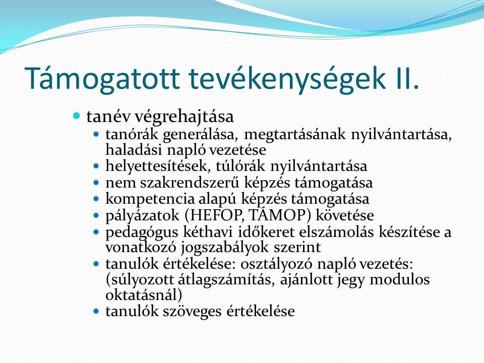 Támogatott tevékenységek II.  tanév végrehajtása  tanórák generálása, megtartásának nyilvántartása, haladási napló vezetése  helyettesítések, túlór