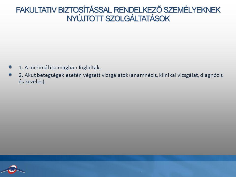FAKULTATIV BIZTOSÍTÁSSAL RENDELKEZŐ SZEMÉLYEKNEK NYÚJTOTT SZOLGÁLTATÁSOK 1.