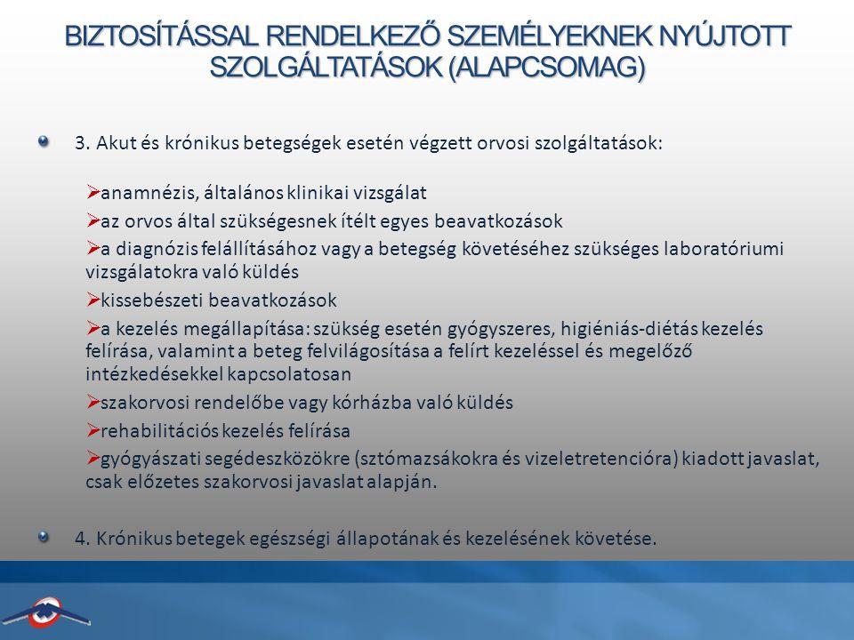 BIZTOSÍTÁSSAL RENDELKEZŐ SZEMÉLYEKNEK NYÚJTOTT SZOLGÁLTATÁSOK (ALAPCSOMAG) 3.