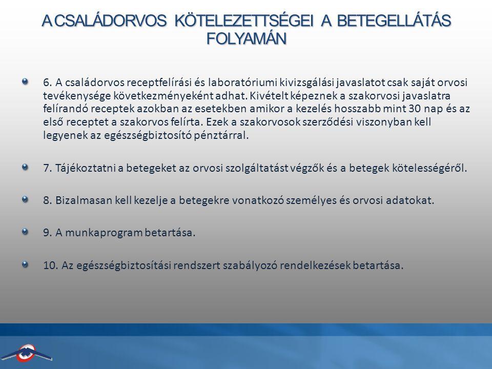A CSALÁDORVOS KÖTELEZETTSÉGEI A BETEGELLÁTÁS FOLYAMÁN 6.