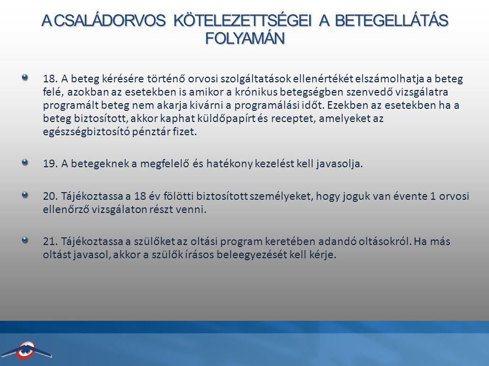 A CSALÁDORVOS KÖTELEZETTSÉGEI A BETEGELLÁTÁS FOLYAMÁN 18.