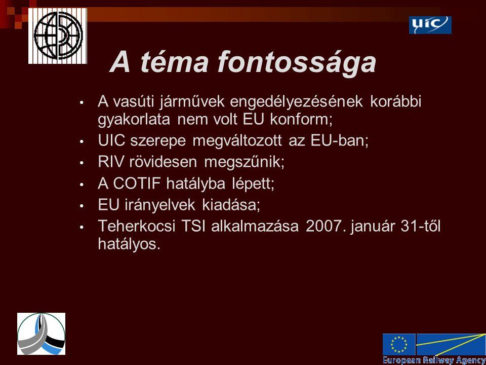 A téma fontossága • A vasúti járművek engedélyezésének korábbi gyakorlata nem volt EU konform; • UIC szerepe megváltozott az EU-ban; • RIV rövidesen megszűnik; • A COTIF hatályba lépett; • EU irányelvek kiadása; • Teherkocsi TSI alkalmazása 2007.
