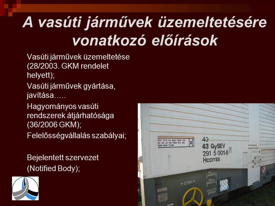A vasúti járművek üzemeltetésére vonatkozó előírások  Vasúti járművek üzemeltetése (28/2003. GKM rendelet helyett);  Vasúti járművek gyártása, javít