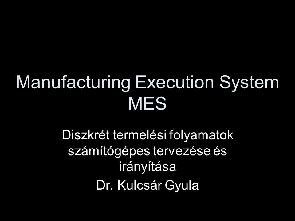 A gyártásirányítás fejlődése •Tömeggyártás •Számjegyvezérlés •Mikroprocesszor •Rugalmas gyártórendszer •Számítógépes üzemi hálózatok •MES
