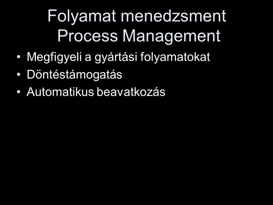 Folyamat menedzsment Process Management •Megfigyeli a gyártási folyamatokat •Döntéstámogatás •Automatikus beavatkozás