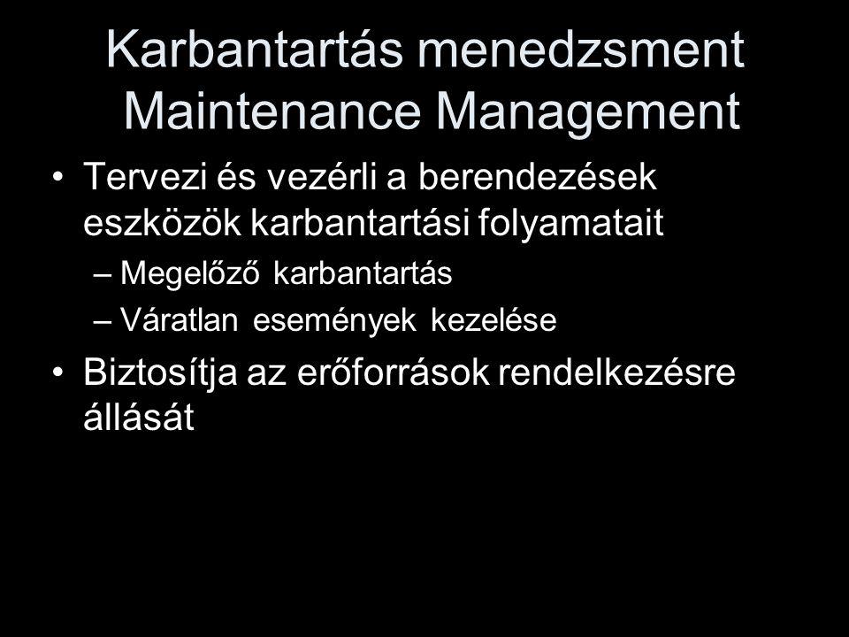 Karbantartás menedzsment Maintenance Management •Tervezi és vezérli a berendezések eszközök karbantartási folyamatait –Megelőző karbantartás –Váratlan