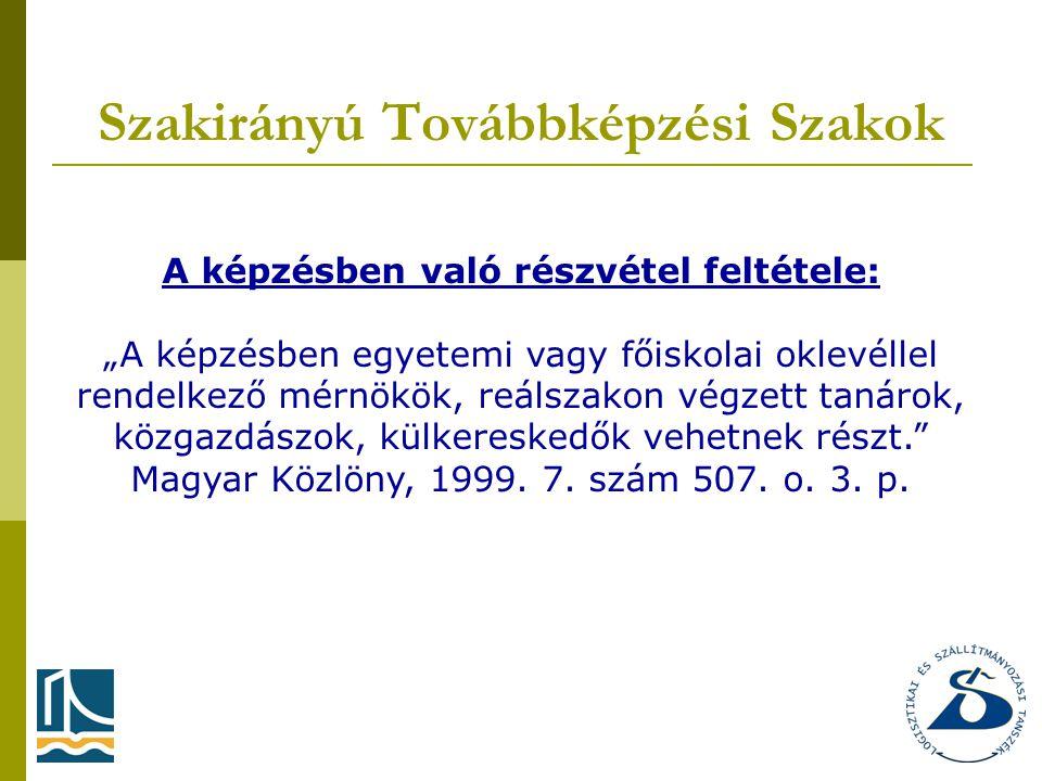"""Szakirányú Továbbképzési Szakok A képzésben való részvétel feltétele: """"A képzésben egyetemi vagy főiskolai oklevéllel rendelkező mérnökök, reálszakon végzett tanárok, közgazdászok, külkereskedők vehetnek részt. Magyar Közlöny, 1999."""