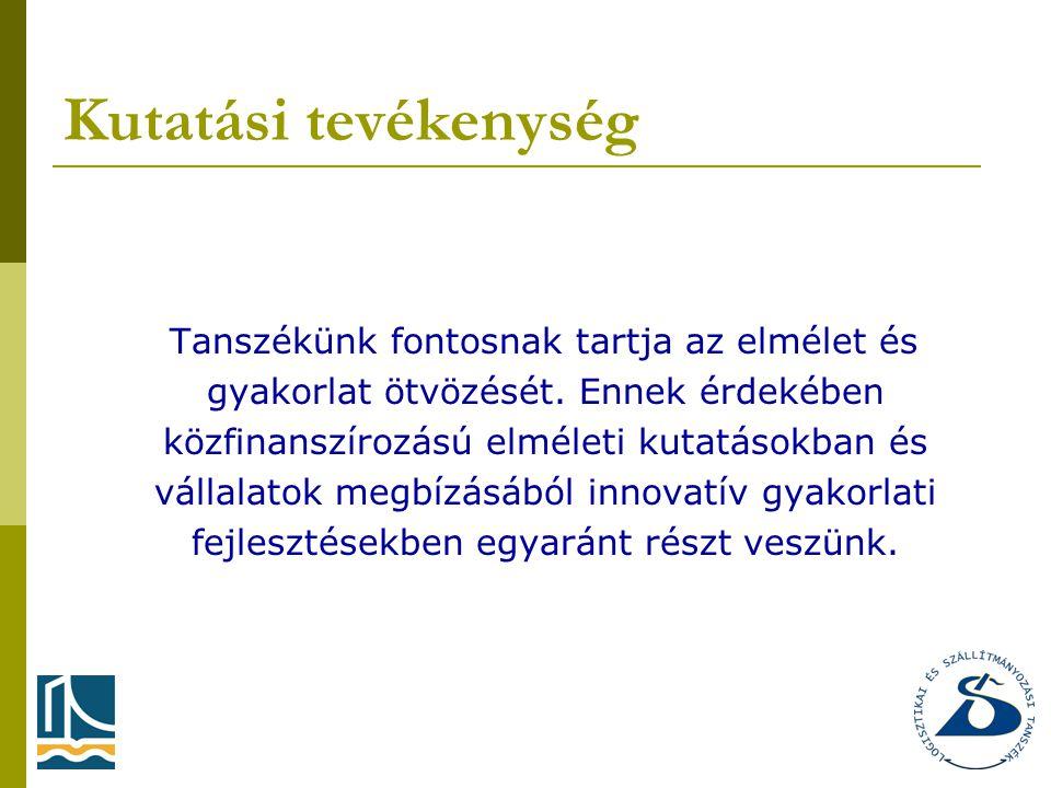 Kutatási tevékenység Tanszékünk fontosnak tartja az elmélet és gyakorlat ötvözését.