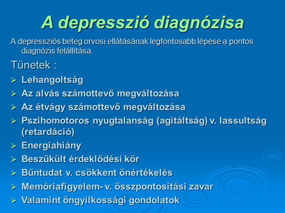 A depresszió diagnózisa A depressziós beteg orvosi ellátásának legfontosabb lépése a pontos diagnózis felállítása. Tünetek :  Lehangoltság  Az alvás