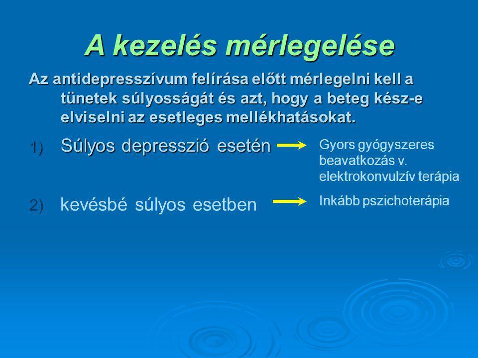 GyógyszerválasztásAntidepresszívumok: depresszió elleni szerek.