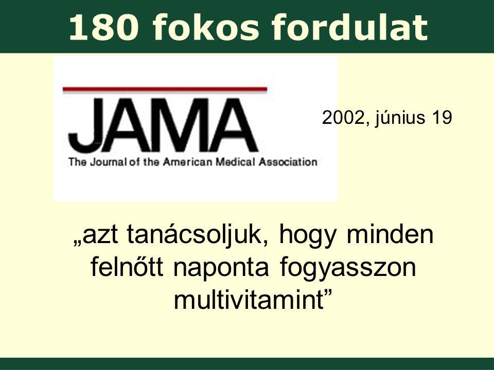"""180 fokos fordulat 2002, június 19 """"azt tanácsoljuk, hogy minden felnőtt naponta fogyasszon multivitamint"""