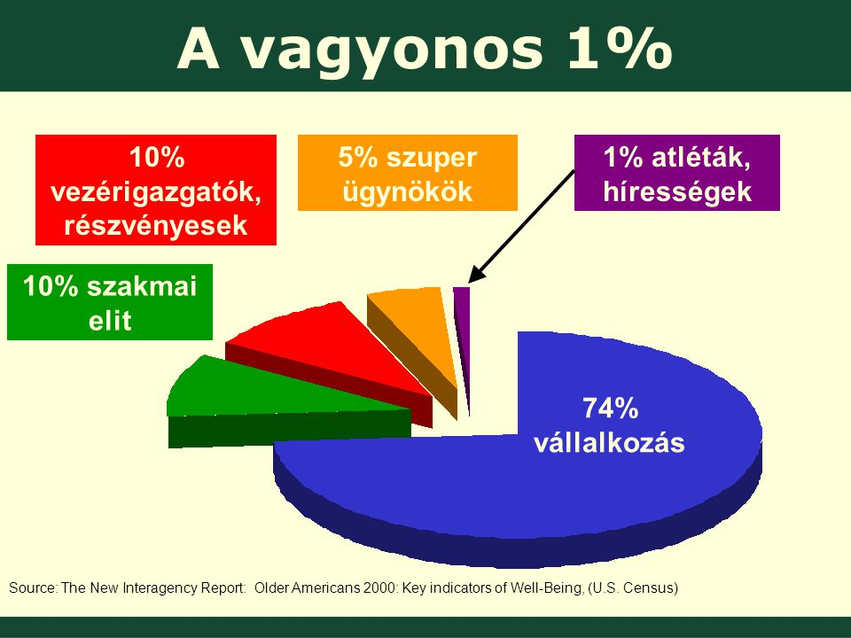 74% vállalkozás 10% szakmai elit 10% vezérigazgatók, részvényesek 5% szuper ügynökök 1% atléták, hírességek Source: The New Interagency Report: Older Americans 2000: Key indicators of Well-Being, (U.S.