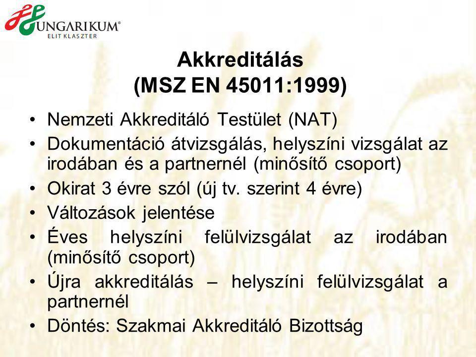 Akkreditálás (MSZ EN 45011:1999) •Nemzeti Akkreditáló Testület (NAT) •Dokumentáció átvizsgálás, helyszíni vizsgálat az irodában és a partnernél (minősítő csoport) •Okirat 3 évre szól (új tv.