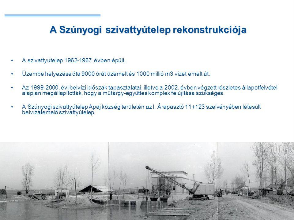 •A szivattyútelep 1962-1967. évben épült. •Üzembe helyezése óta 9000 órát üzemelt és 1000 millió m3 vizet emelt át. •Az 1999-2000. évi belvízi időszak