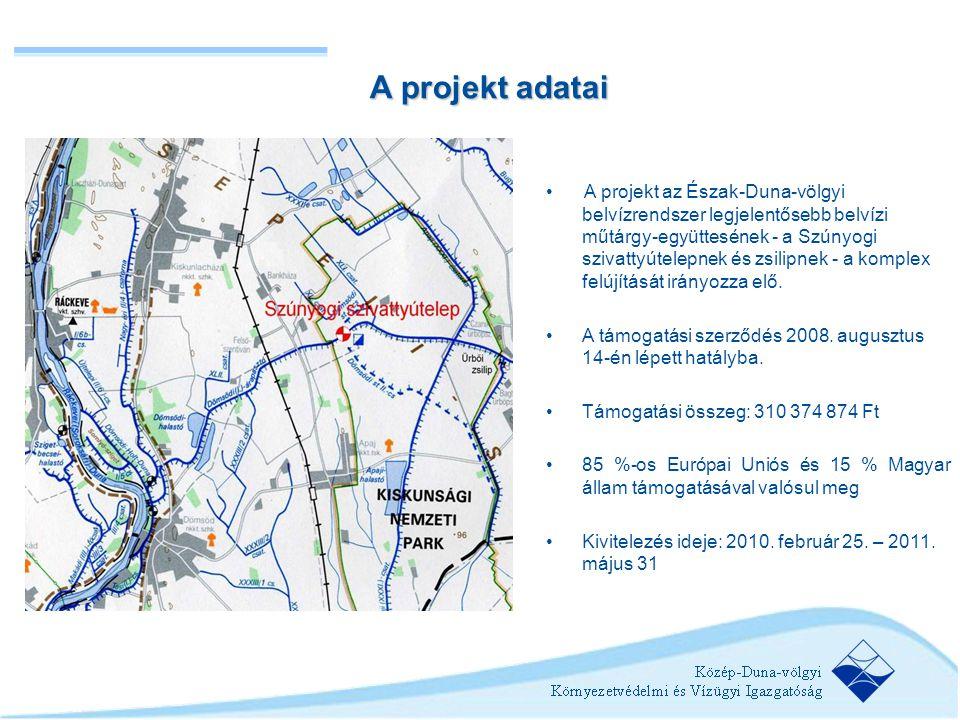 •A projekt az Észak-Duna-völgyi belvízrendszer legjelentősebb belvízi műtárgy-együttesének - a Szúnyogi szivattyútelepnek és zsilipnek - a komplex fel