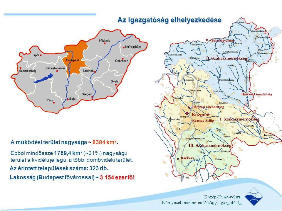 A működési terület nagysága ~ 8384 km 2. Ebből mindössze 1769,4 km 2 (~21%) nagyságú terület síkvidéki jellegű, a többi dombvidéki terület. Az érintet