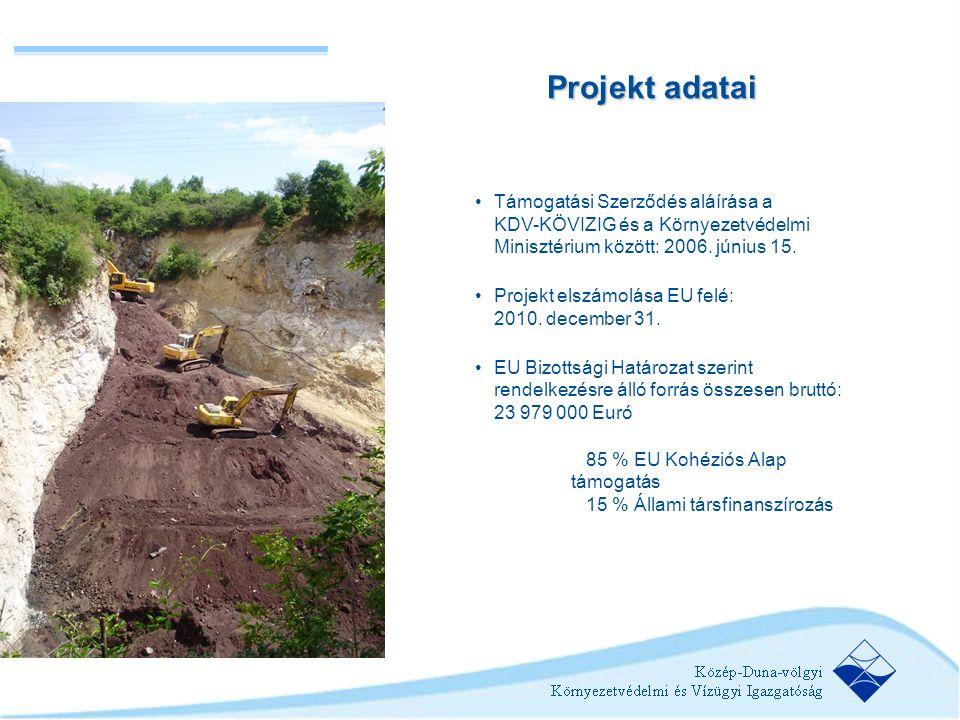 •Támogatási Szerződés aláírása a KDV-KÖVIZIG és a Környezetvédelmi Minisztérium között: 2006. június 15. •Projekt elszámolása EU felé: 2010. december