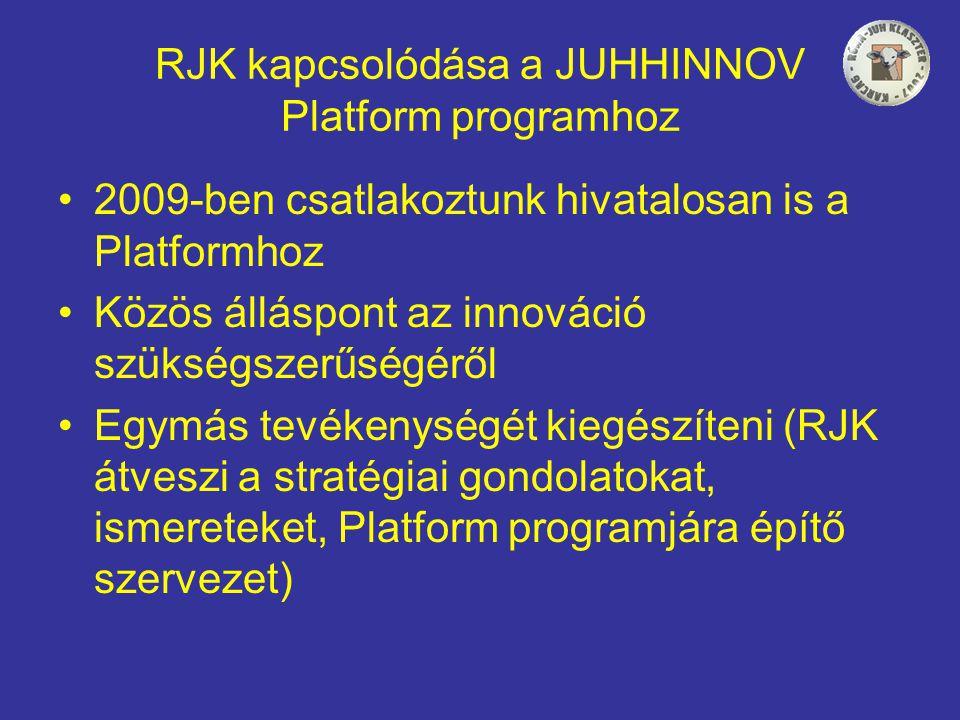 RJK kapcsolódása a JUHHINNOV Platform programhoz •2009-ben csatlakoztunk hivatalosan is a Platformhoz •Közös álláspont az innováció szükségszerűségéről •Egymás tevékenységét kiegészíteni (RJK átveszi a stratégiai gondolatokat, ismereteket, Platform programjára építő szervezet)