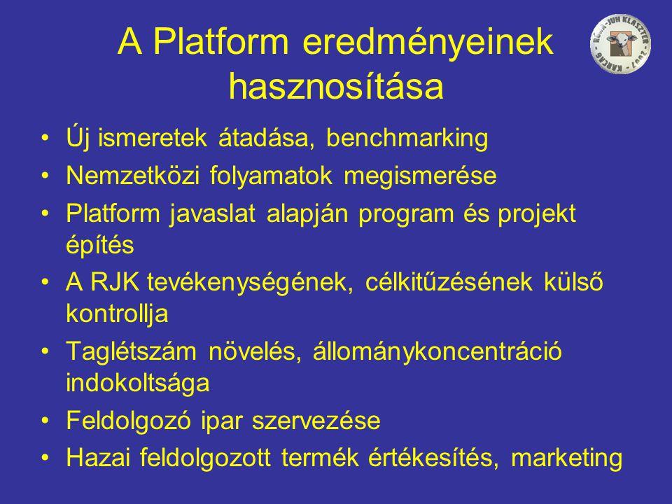 A Platform eredményeinek hasznosítása •Új ismeretek átadása, benchmarking •Nemzetközi folyamatok megismerése •Platform javaslat alapján program és projekt építés •A RJK tevékenységének, célkitűzésének külső kontrollja •Taglétszám növelés, állománykoncentráció indokoltsága •Feldolgozó ipar szervezése •Hazai feldolgozott termék értékesítés, marketing