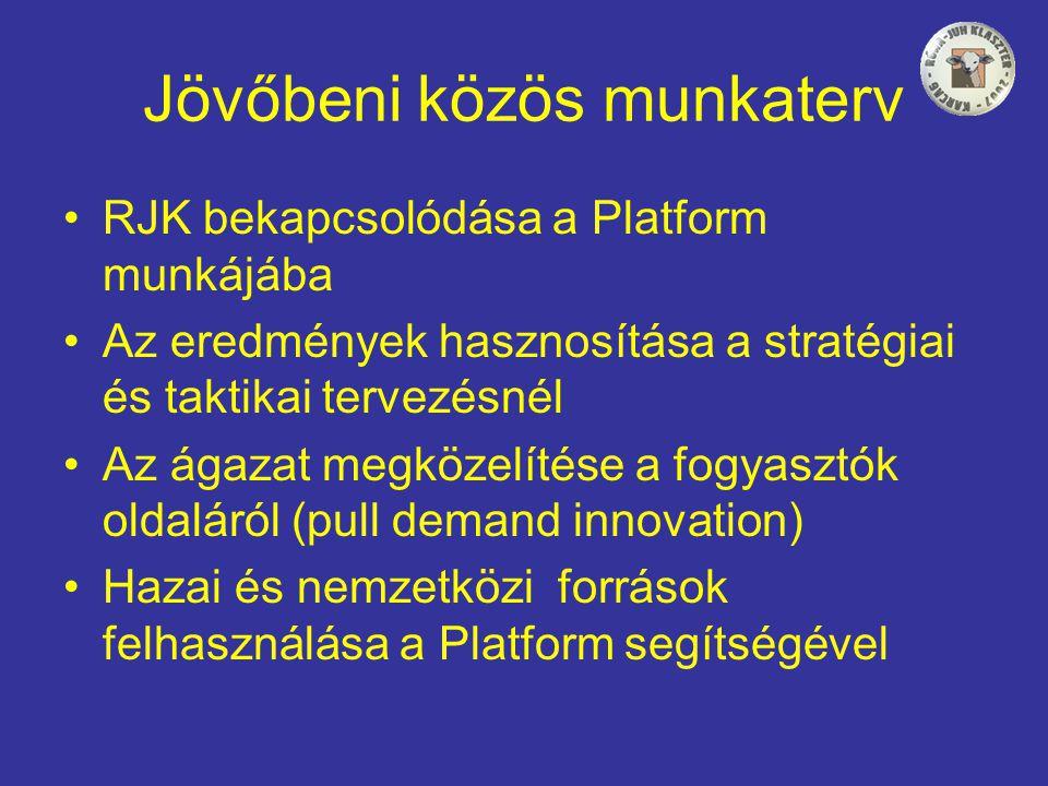 Jövőbeni közös munkaterv •RJK bekapcsolódása a Platform munkájába •Az eredmények hasznosítása a stratégiai és taktikai tervezésnél •Az ágazat megközelítése a fogyasztók oldaláról (pull demand innovation) •Hazai és nemzetközi források felhasználása a Platform segítségével