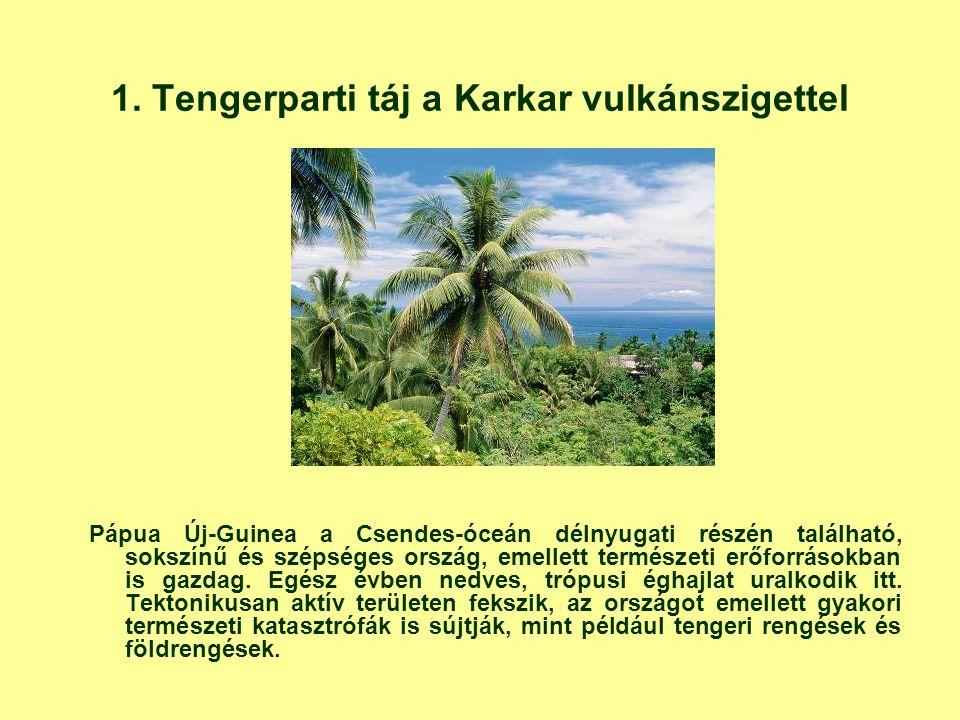 1. Tengerparti táj a Karkar vulkánszigettel Pápua Új-Guinea a Csendes-óceán délnyugati részén található, sokszínű és szépséges ország, emellett termés