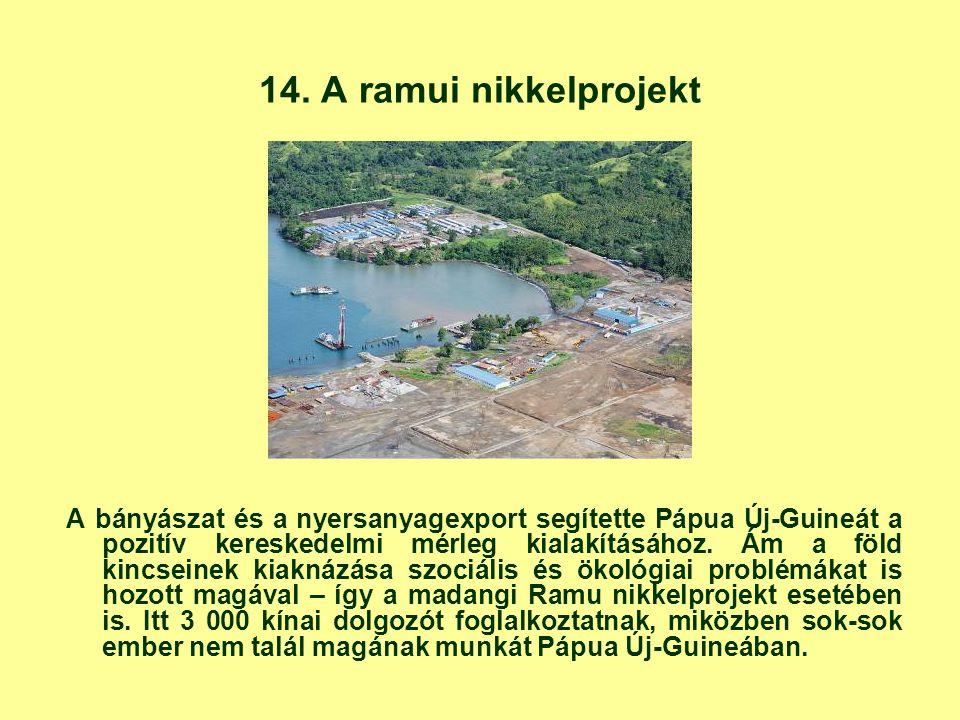 14. A ramui nikkelprojekt A bányászat és a nyersanyagexport segítette Pápua Új-Guineát a pozitív kereskedelmi mérleg kialakításához. Ám a föld kincsei