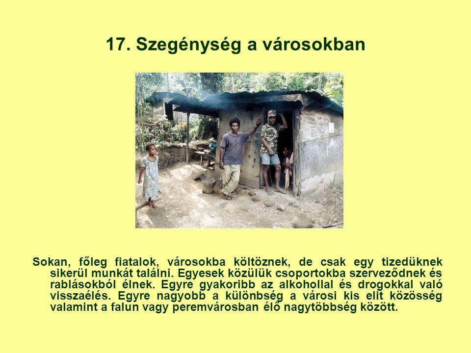 17. Szegénység a városokban Sokan, főleg fiatalok, városokba költöznek, de csak egy tizedüknek sikerül munkát találni. Egyesek közülük csoportokba sze