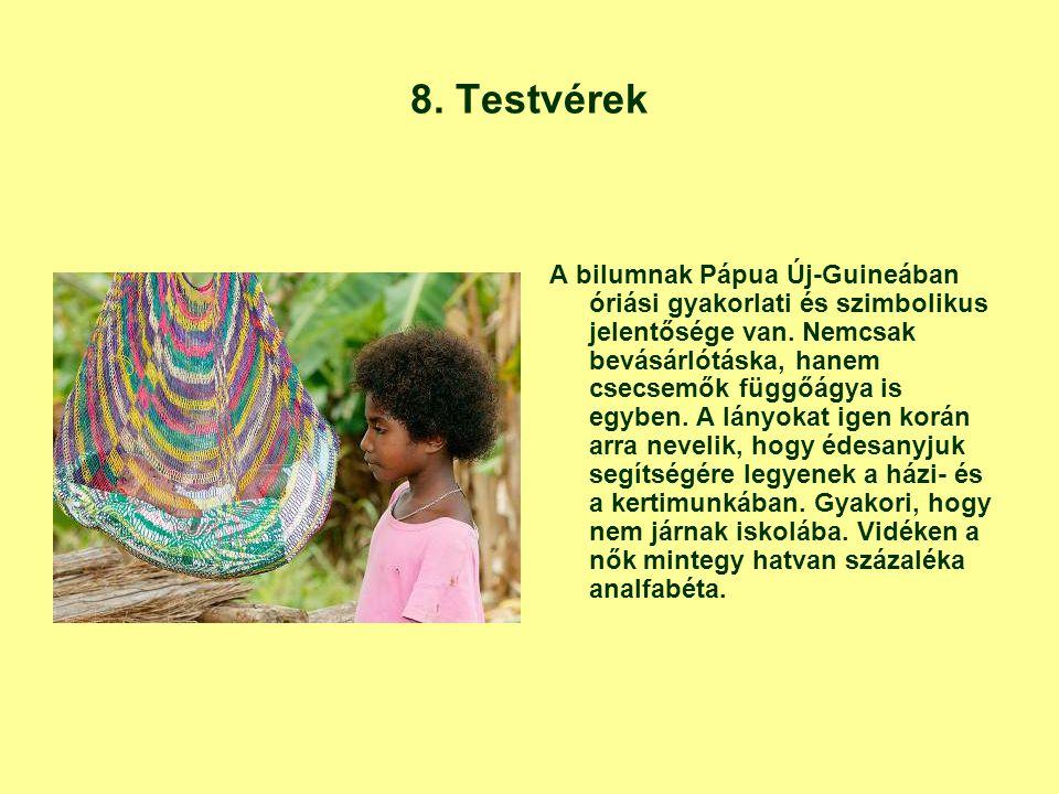 8. Testvérek A bilumnak Pápua Új-Guineában óriási gyakorlati és szimbolikus jelentősége van. Nemcsak bevásárlótáska, hanem csecsemők függőágya is egyb