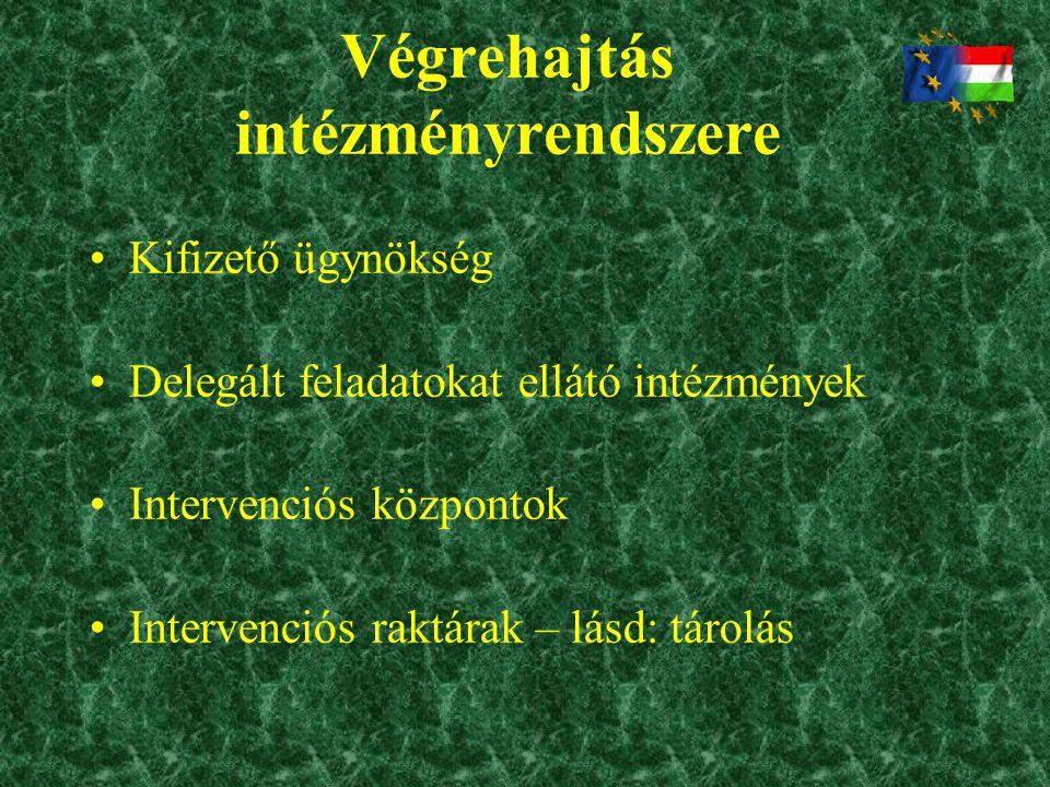 Végrehajtás intézményrendszere •Kifizető ügynökség •Delegált feladatokat ellátó intézmények •Intervenciós központok •Intervenciós raktárak – lásd: tár