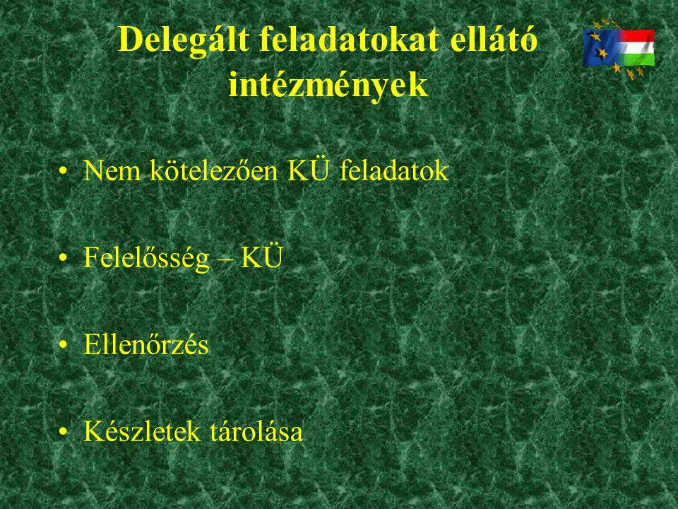 Delegált feladatokat ellátó intézmények •Nem kötelezően KÜ feladatok •Felelősség – KÜ •Ellenőrzés •Készletek tárolása