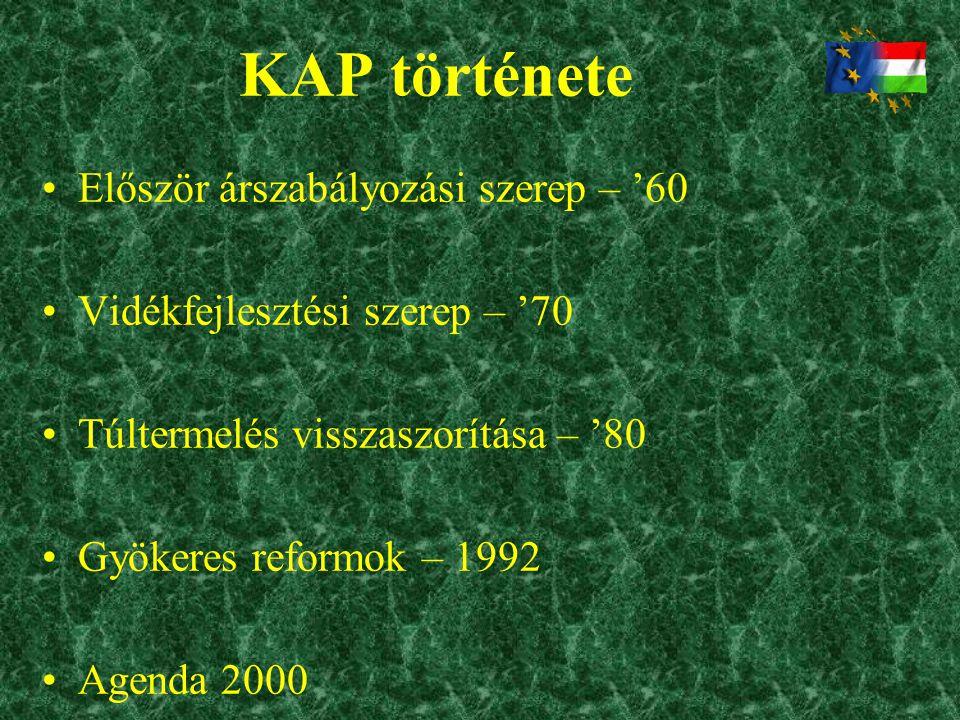 KAP története •Először árszabályozási szerep – '60 •Vidékfejlesztési szerep – '70 •Túltermelés visszaszorítása – '80 •Gyökeres reformok – 1992 •Agenda