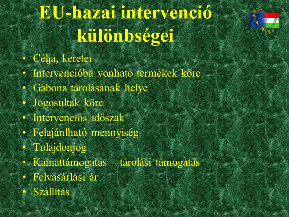 EU-hazai intervenció különbségei •Célja, keretei •Intervencióba vonható termékek köre •Gabona tárolásának helye •Jogosultak köre •Intervenciós időszak