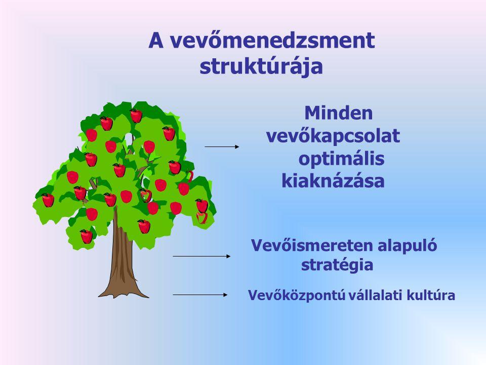 Minden vevőkapcsolat optimális kiaknázása Vevőismereten alapuló stratégia Vevőközpontú vállalati kultúra A vevőmenedzsment struktúrája