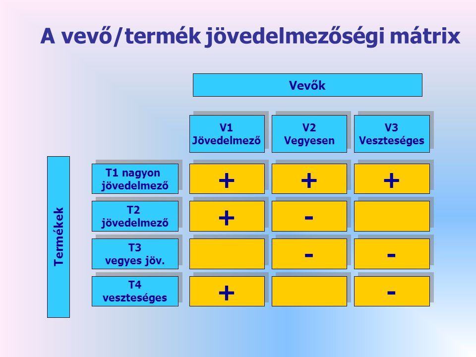 Termékek Vevők + + + + + + - - + + - - - - - - + + V2 Vegyesen V2 Vegyesen V3 Veszteséges V3 Veszteséges V1 Jövedelmező V1 Jövedelmező T1 nagyon jövedelmező T1 nagyon jövedelmező T2 jövedelmező T2 jövedelmező T3 vegyes jöv.