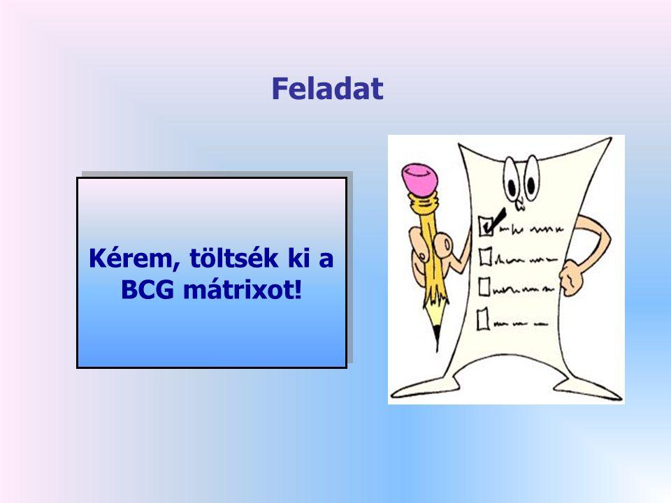 Kérem, töltsék ki a BCG mátrixot! Kérem, töltsék ki a BCG mátrixot! Feladat