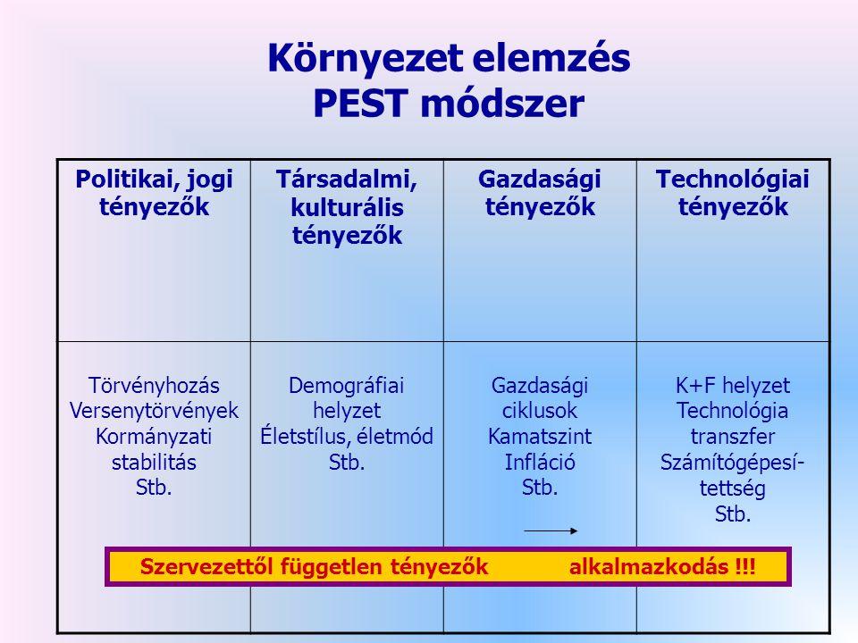 Környezet elemzés PEST módszer Politikai, jogi tényezők Társadalmi, kulturális tényezők Gazdasági tényezők Technológiai tényezők Törvényhozás Versenytörvények Kormányzati stabilitás Stb.