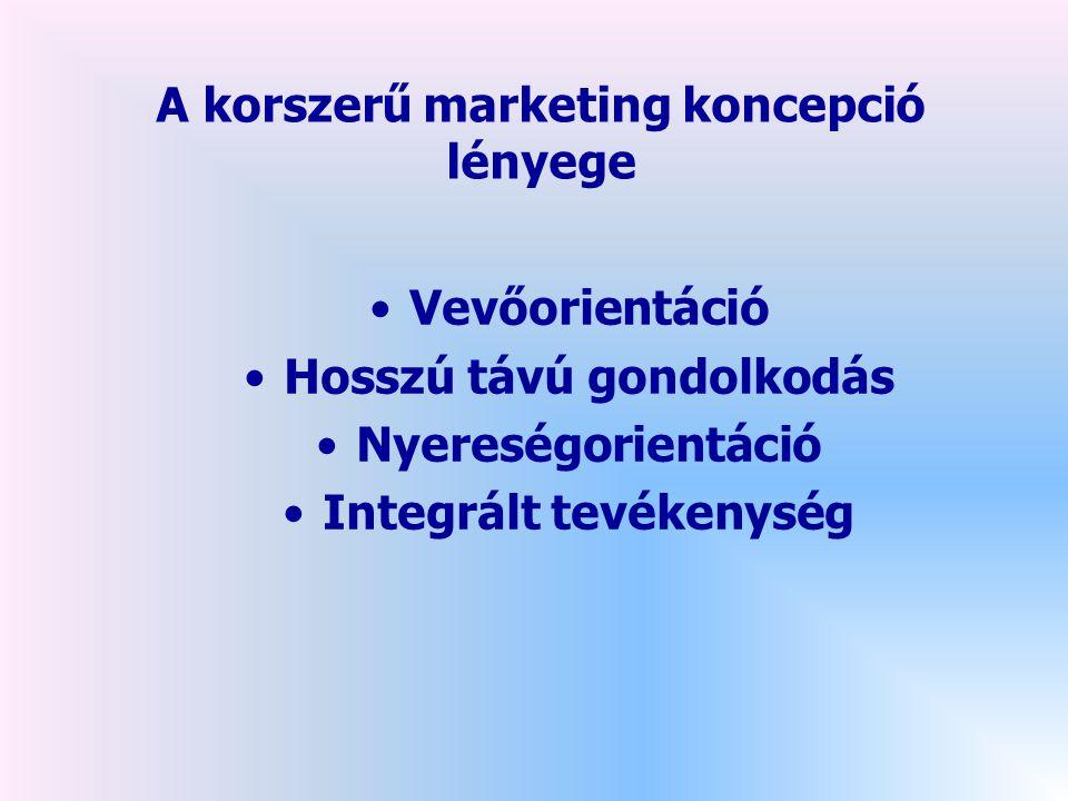 A korszerű marketing koncepció lényege •Vevőorientáció •Hosszú távú gondolkodás •Nyereségorientáció •Integrált tevékenység