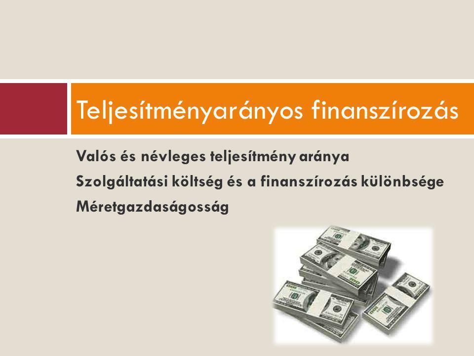 Valós és névleges teljesítmény aránya Szolgáltatási költség és a finanszírozás különbsége Méretgazdaságosság Teljesítményarányos finanszírozás