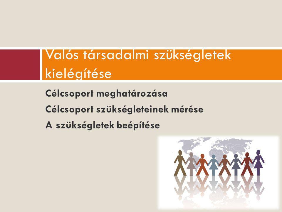 Célcsoport meghatározása Célcsoport szükségleteinek mérése A szükségletek beépítése Valós társadalmi szükségletek kielégítése