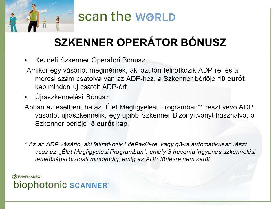 SZKENNER OPERÁTOR BÓNUSZ •Kezdeti Szkenner Operátori Bónusz Amikor egy vásárlót megmérnek, aki azután feliratkozik ADP-re, és a mérési szám csatolva van az ADP-hez, a Szkenner bérlője 10 eurót kap minden új csatolt ADP-ért.