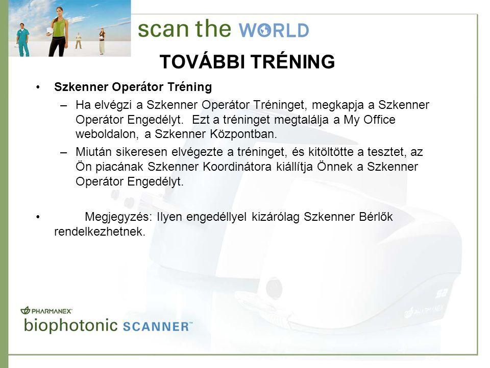 TOVÁBBI TRÉNING •Szkenner Operátor Tréning –Ha elvégzi a Szkenner Operátor Tréninget, megkapja a Szkenner Operátor Engedélyt. Ezt a tréninget megtalál