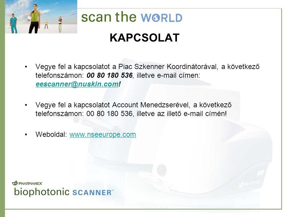 KAPCSOLAT •Vegye fel a kapcsolatot a Piac Szkenner Koordinátorával, a következő telefonszámon: 00 80 180 536, illetve e-mail címen: eescanner@nuskin.c
