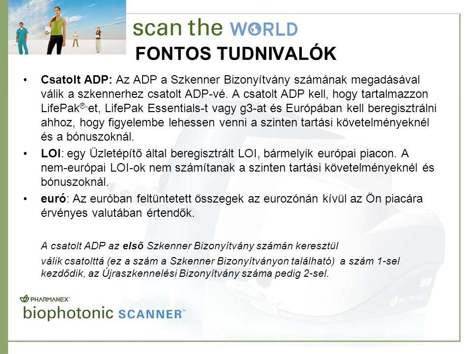 FONTOS TUDNIVALÓK •Csatolt ADP: Az ADP a Szkenner Bizonyítvány számának megadásával válik a szkennerhez csatolt ADP-vé. A csatolt ADP kell, hogy tarta
