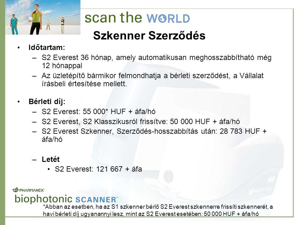 Szkenner Szerződés •Időtartam: –S2 Everest 36 hónap, amely automatikusan meghosszabbítható még 12 hónappal –Az üzletépítő bármikor felmondhatja a bérleti szerződést, a Vállalat írásbeli értesítése mellett.