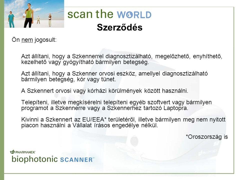Szerződés Azt állítani, hogy a Szkennerrel diagnosztizálható, megelőzhető, enyhíthető, kezelhető vagy gyógyítható bármilyen betegség. Azt állítani, ho
