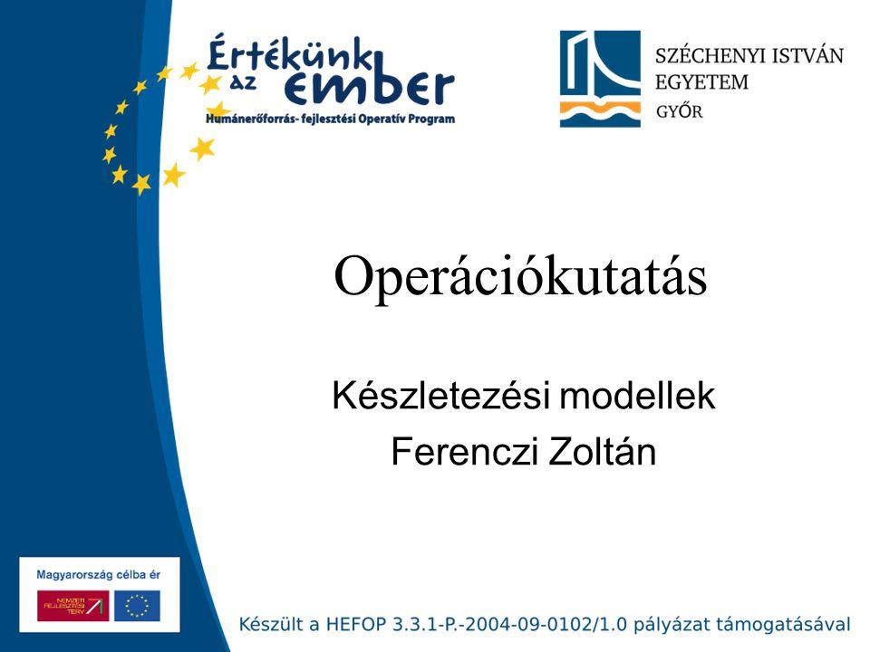 Operációkutatás Készletezési modellek Ferenczi Zoltán