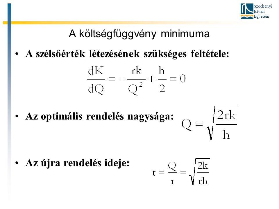 Széchenyi István Egyetem A költségfüggvény minimuma •A szélsőérték létezésének szükséges feltétele: •Az optimális rendelés nagysága: •Az újra rendelés ideje: