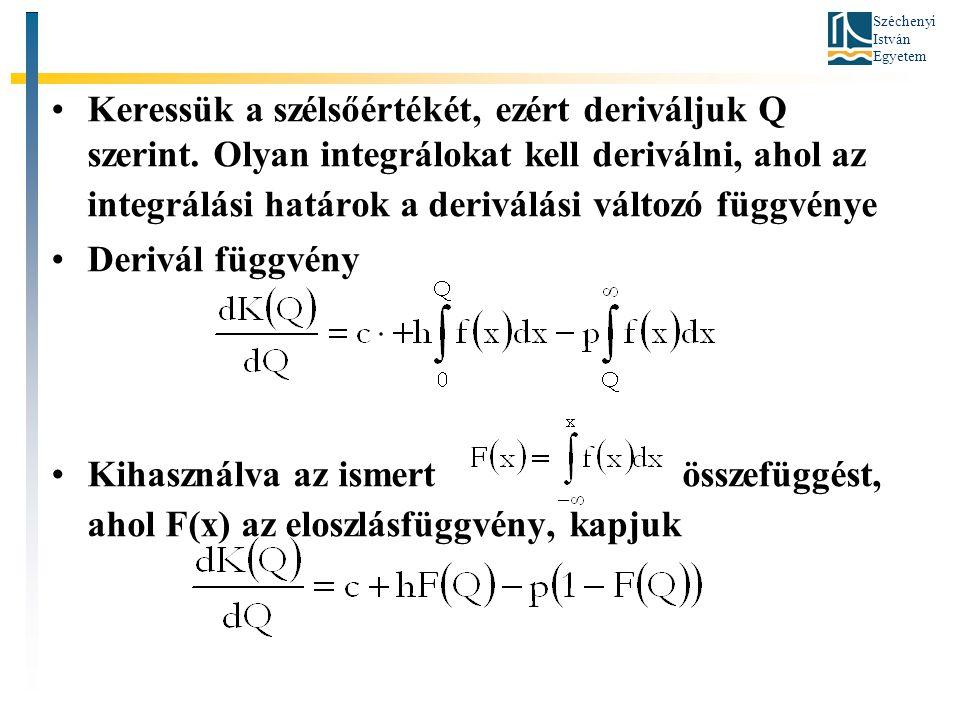 Széchenyi István Egyetem •Keressük a szélsőértékét, ezért deriváljuk Q szerint.