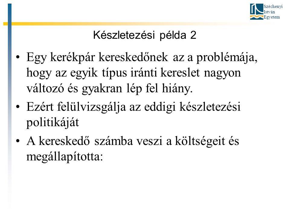 Széchenyi István Egyetem Készletezési példa 2 •Egy kerékpár kereskedőnek az a problémája, hogy az egyik típus iránti kereslet nagyon változó és gyakran lép fel hiány.
