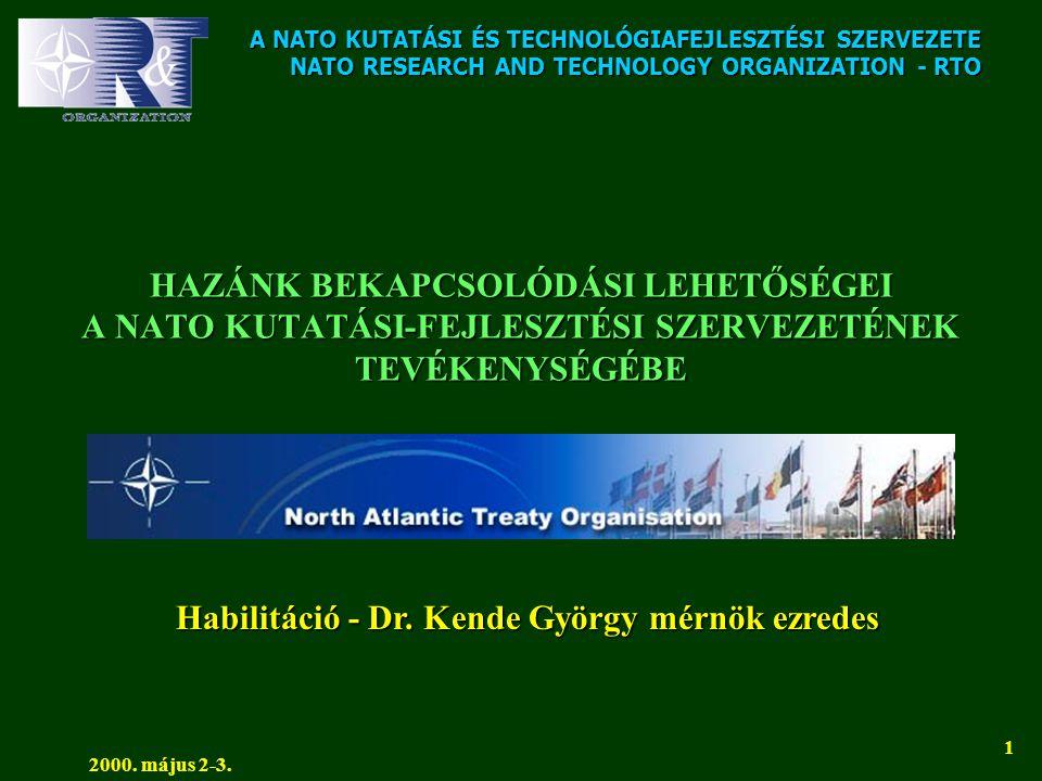 A NATO KUTATÁSI ÉS TECHNOLÓGIAFEJLESZTÉSI SZERVEZETE NATO RESEARCH AND TECHNOLOGY ORGANIZATION - RTO 2000. május 2-3. 1 HAZÁNK BEKAPCSOLÓDÁSI LEHETŐSÉ